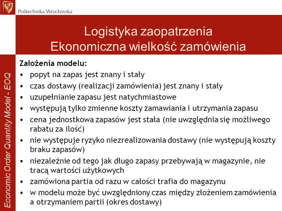 Logistyka zaopatrzenia Ekonomiczna wielkość zamówienia
