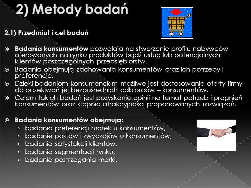 2) Metody badań 2.1) Przedmiot i cel badań