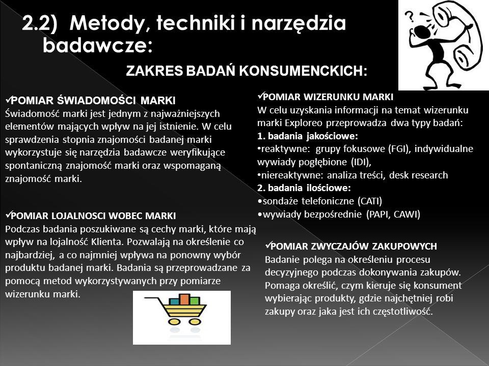 2.2) Metody, techniki i narzędzia badawcze: