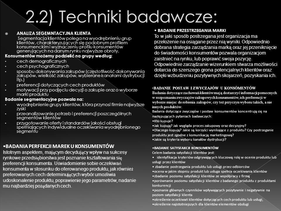 2.2) Techniki badawcze: BADANIA PERFEKCJI MAREK U KONSUMENTÓW