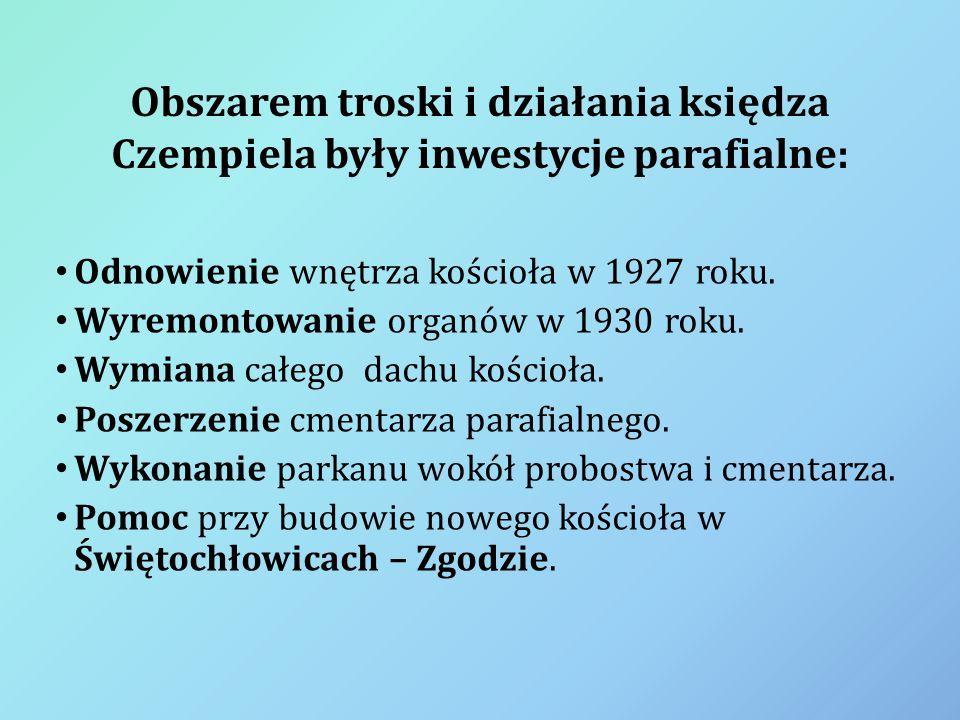 Obszarem troski i działania księdza Czempiela były inwestycje parafialne:
