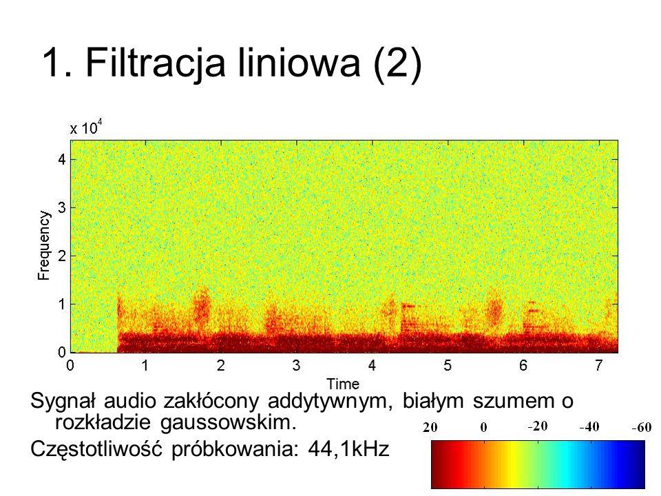 1. Filtracja liniowa (2) Sygnał audio zakłócony addytywnym, białym szumem o rozkładzie gaussowskim.