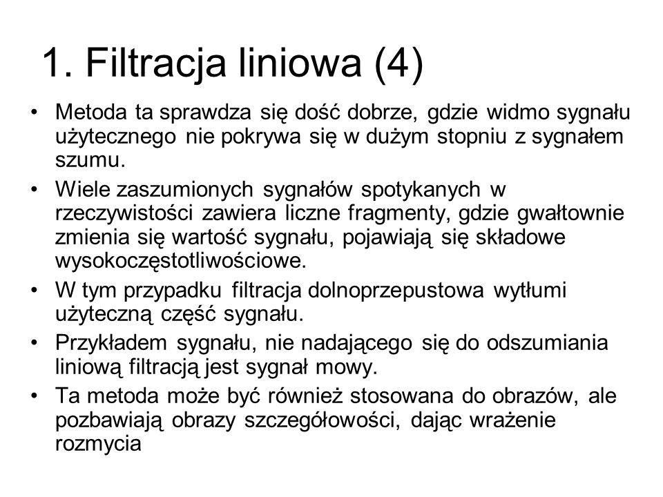 1. Filtracja liniowa (4) Metoda ta sprawdza się dość dobrze, gdzie widmo sygnału użytecznego nie pokrywa się w dużym stopniu z sygnałem szumu.