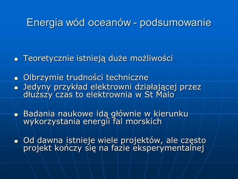 Energia wód oceanów - podsumowanie