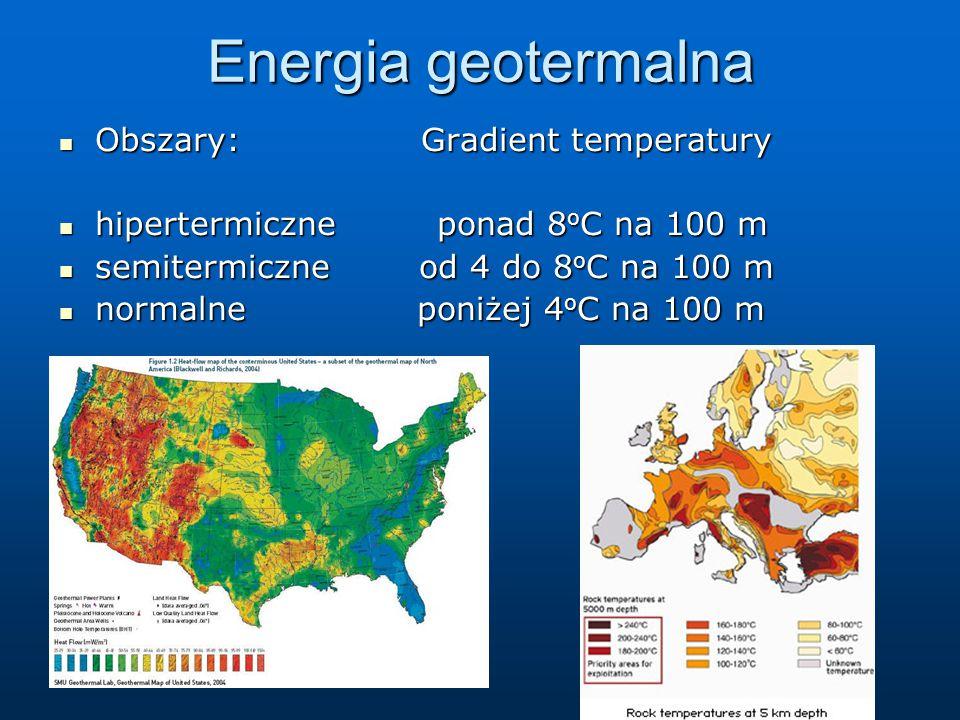 Energia geotermalna Obszary: Gradient temperatury