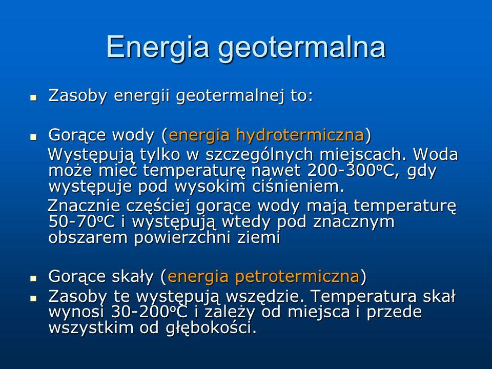 Energia geotermalna Zasoby energii geotermalnej to: