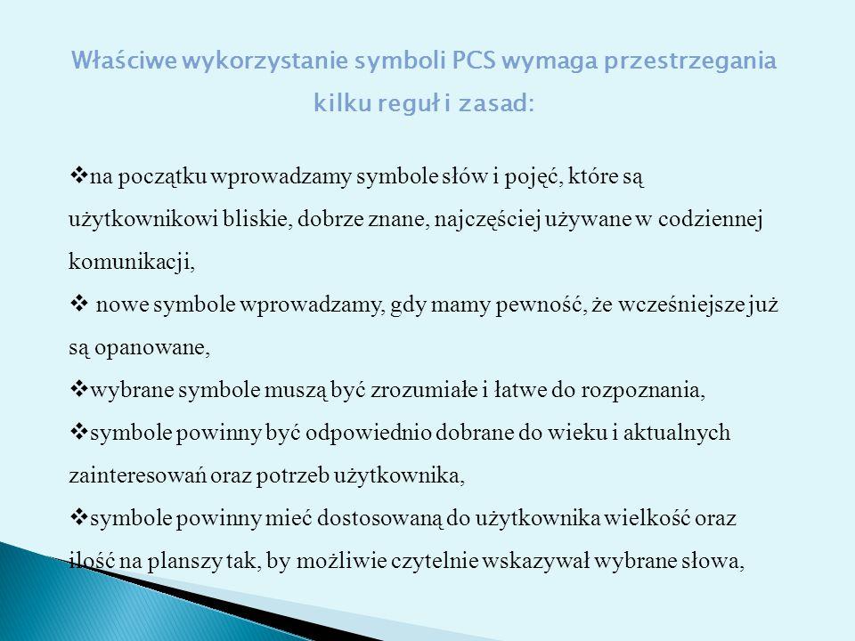 Właściwe wykorzystanie symboli PCS wymaga przestrzegania kilku reguł i zasad: