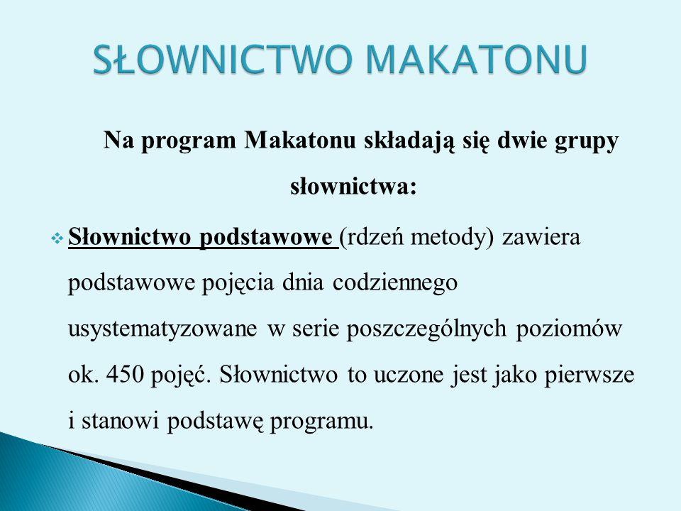 Na program Makatonu składają się dwie grupy słownictwa: