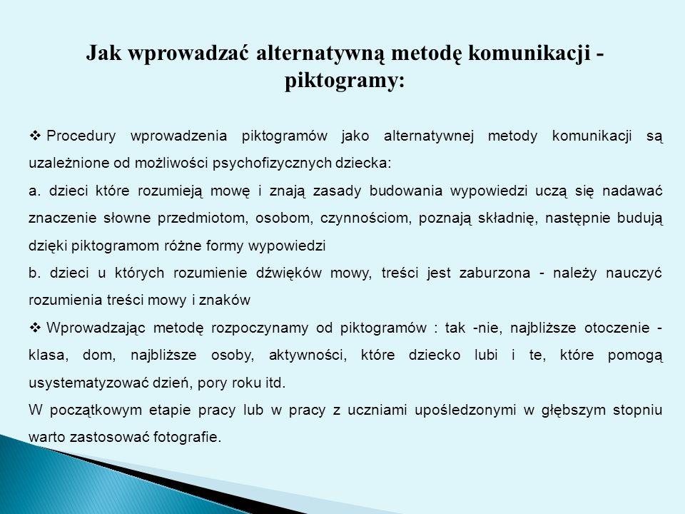 Jak wprowadzać alternatywną metodę komunikacji - piktogramy: