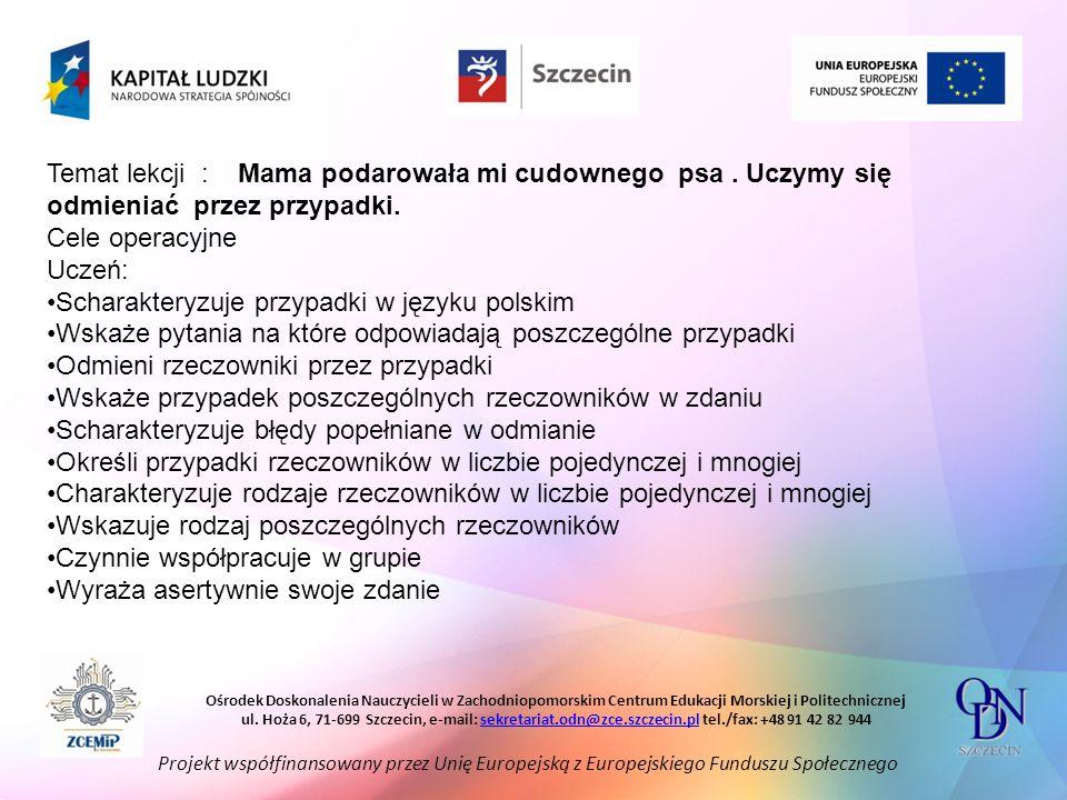 Scharakteryzuje przypadki w języku polskim