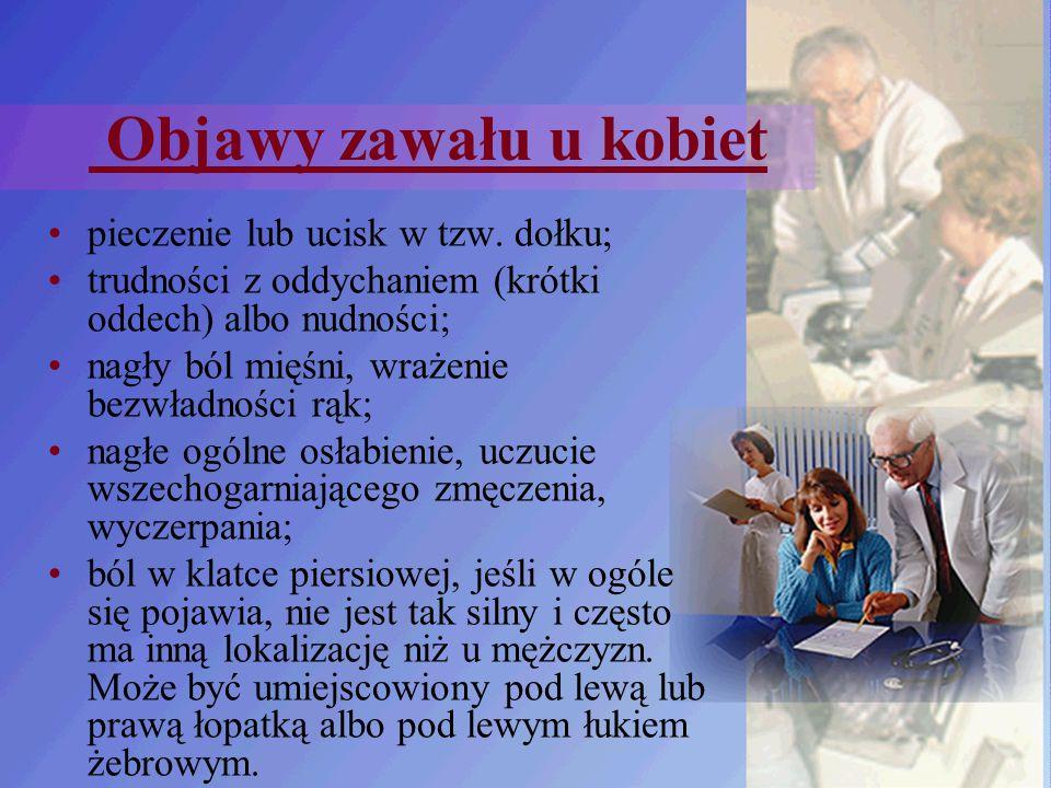 Objawy zawału u kobiet pieczenie lub ucisk w tzw. dołku;