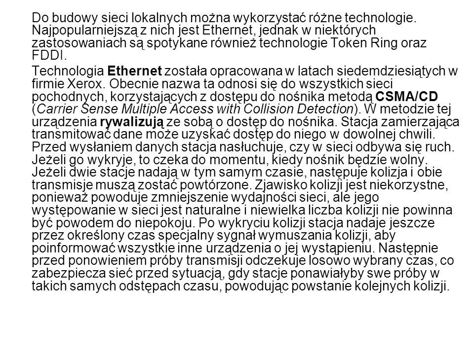 Do budowy sieci lokalnych można wykorzystać różne technologie