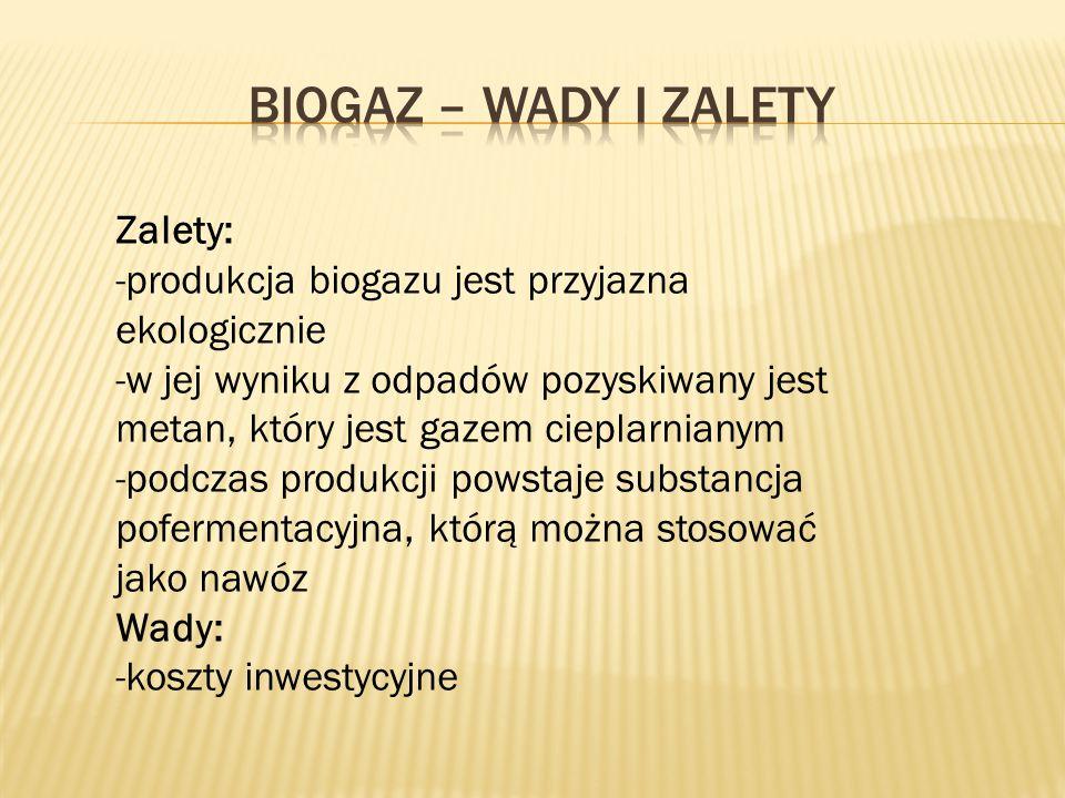 Biogaz – wady i zalety Zalety: