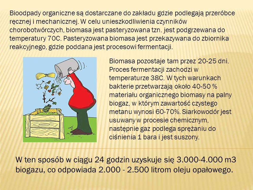 Bioodpady organiczne są dostarczane do zakładu gdzie podlegają przeróbce ręcznej i mechanicznej. W celu unieszkodliwienia czynników chorobotwórczych, biomasa jest pasteryzowana tzn. jest podgrzewana do temperatury 70C. Pasteryzowana biomasa jest przekazywana do zbiornika reakcyjnego, gdzie poddana jest procesowi fermentacji.