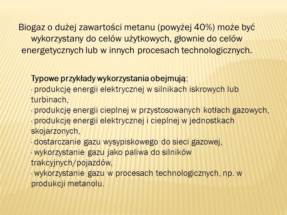 Biogaz o dużej zawartości metanu (powyżej 40%) może być wykorzystany do celów użytkowych, głownie do celów energetycznych lub w innych procesach technologicznych.
