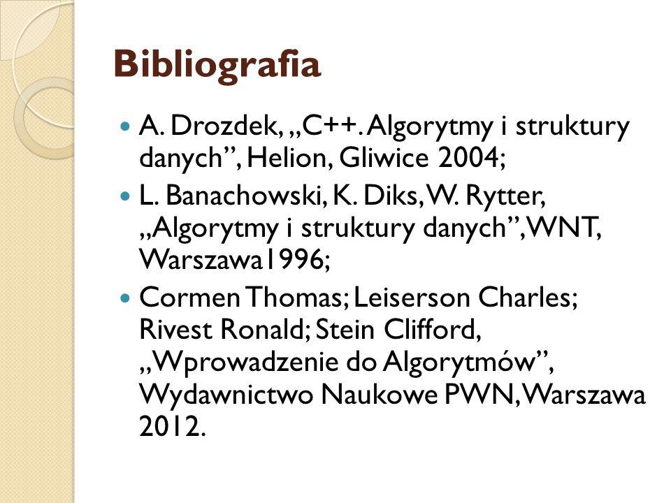 """Bibliografia A. Drozdek, """"C++. Algorytmy i struktury danych , Helion, Gliwice 2004;"""