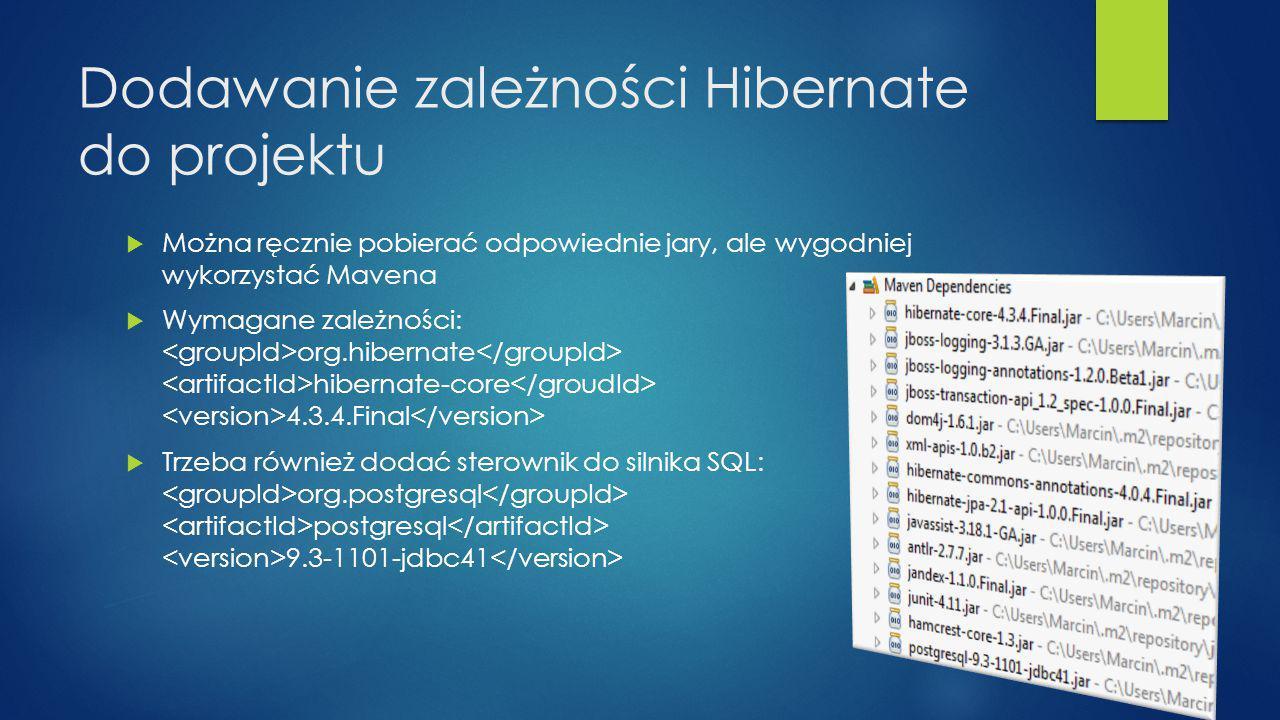 Dodawanie zależności Hibernate do projektu