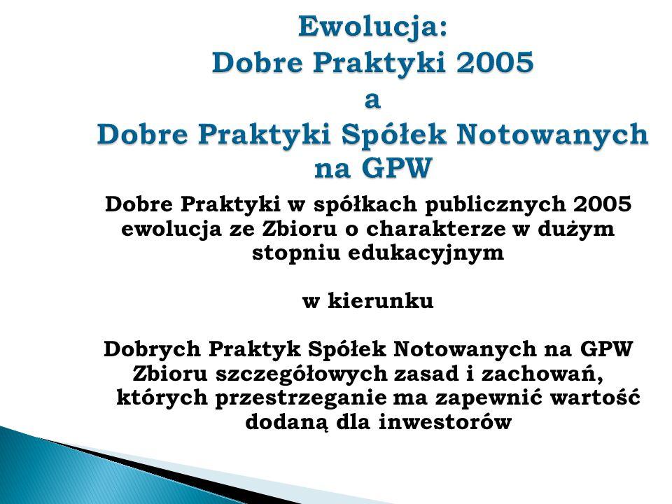 Ewolucja: Dobre Praktyki 2005 a Dobre Praktyki Spółek Notowanych na GPW