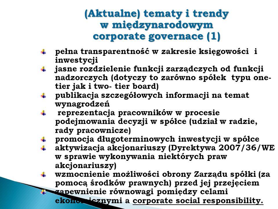 (Aktualne) tematy i trendy w międzynarodowym corporate governace (1)
