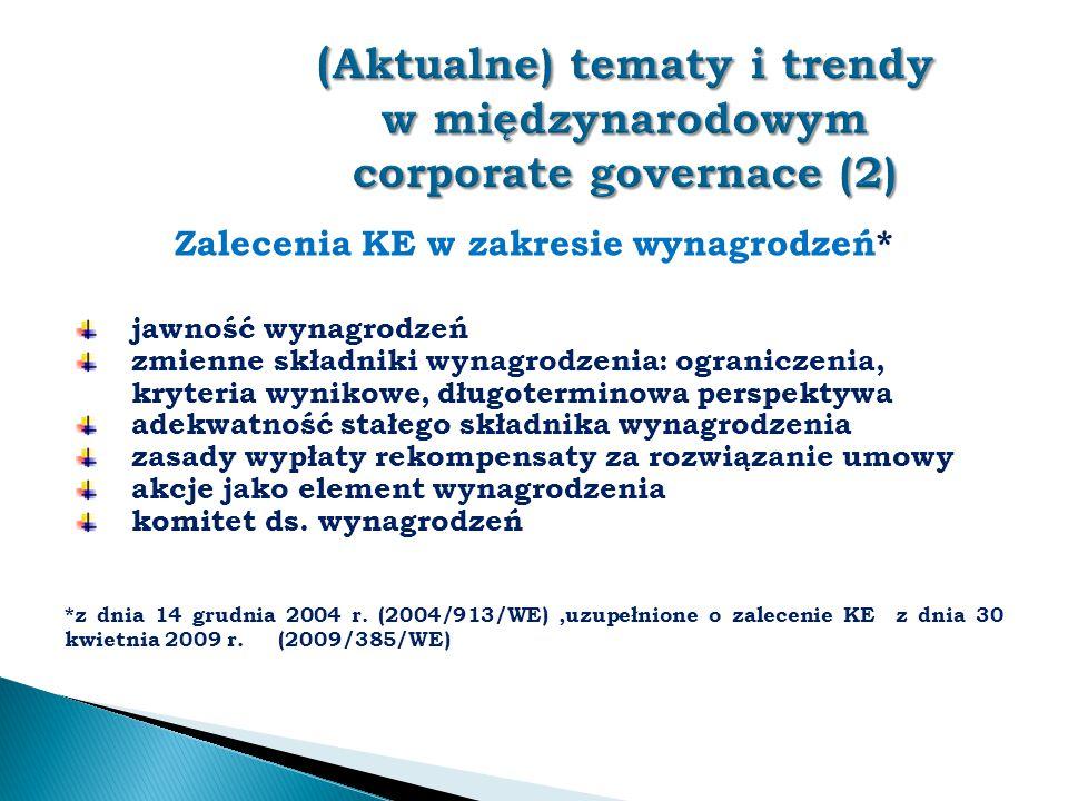 (Aktualne) tematy i trendy w międzynarodowym corporate governace (2)