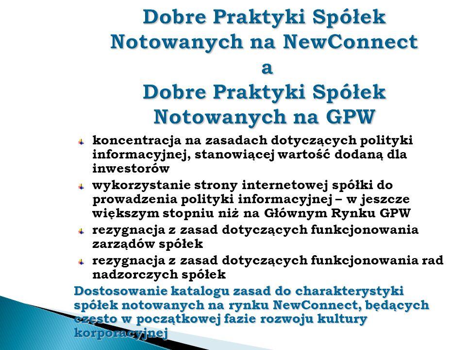 Dobre Praktyki Spółek Notowanych na NewConnect a Dobre Praktyki Spółek Notowanych na GPW