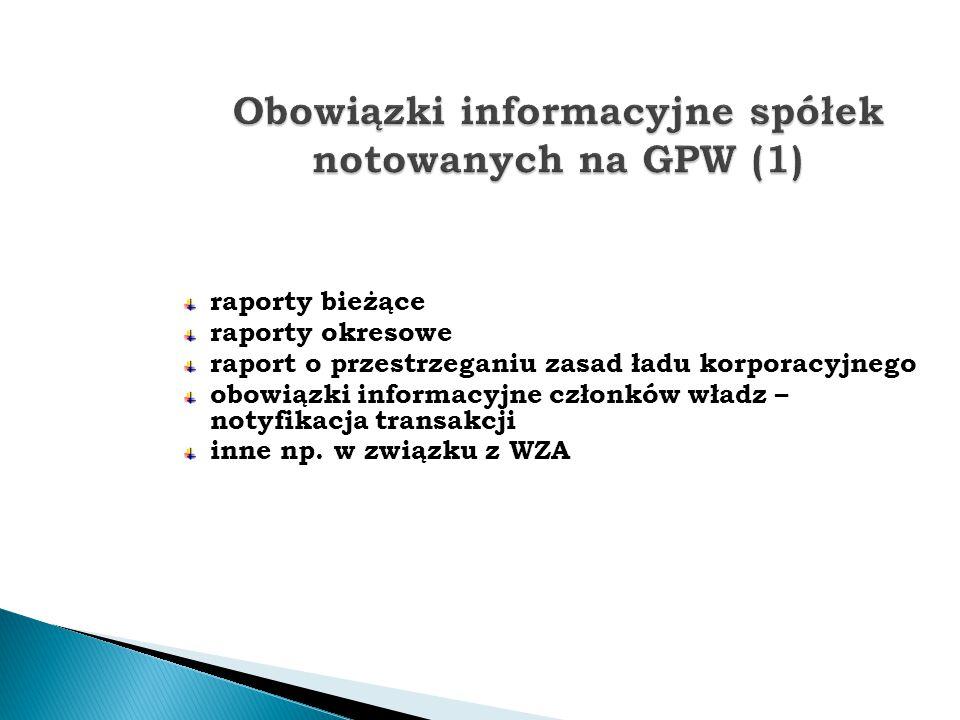 Obowiązki informacyjne spółek notowanych na GPW (1)