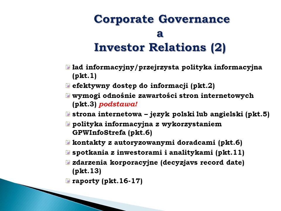 Corporate Governance a Investor Relations (2)