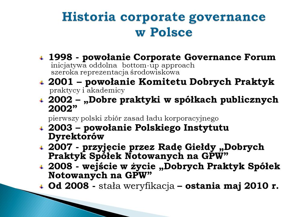 Historia corporate governance w Polsce