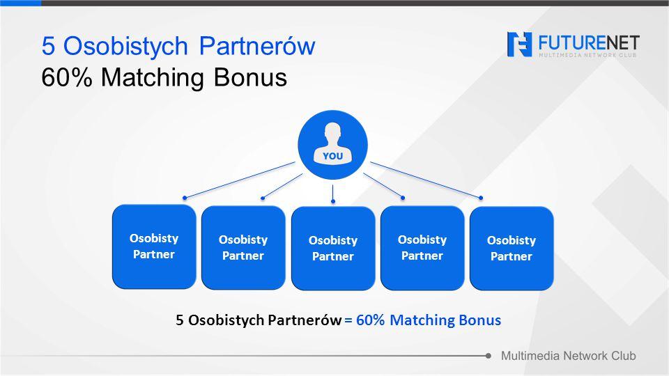 5 Osobistych Partnerów 60% Matching Bonus