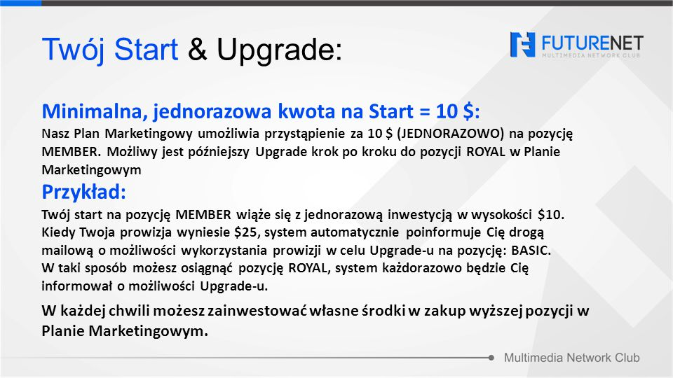 Twój Start & Upgrade: Minimalna, jednorazowa kwota na Start = 10 $: