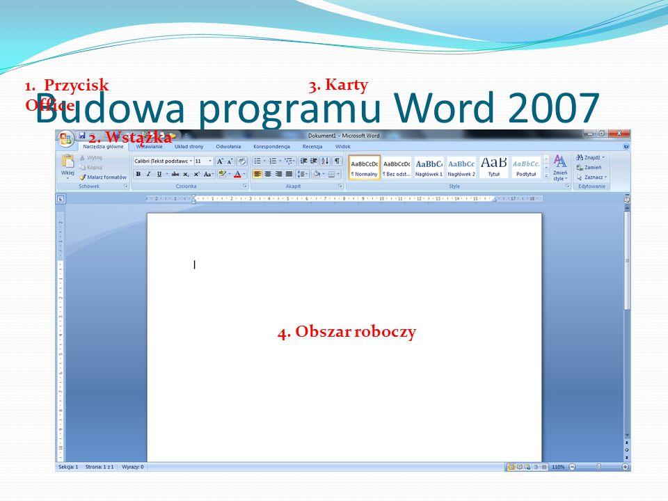 Budowa programu Word 2007 1. Przycisk Office 3. Karty 2. Wstążka