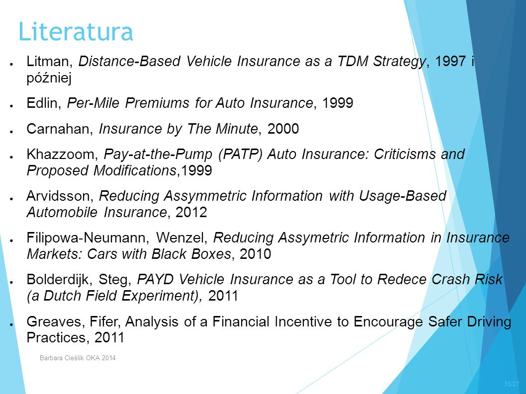 Literatura Litman, Distance-Based Vehicle Insurance as a TDM Strategy, 1997 i później. Edlin, Per-Mile Premiums for Auto Insurance, 1999.