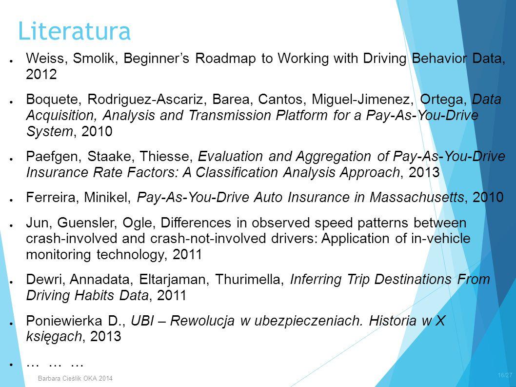 Literatura Weiss, Smolik, Beginner's Roadmap to Working with Driving Behavior Data, 2012.