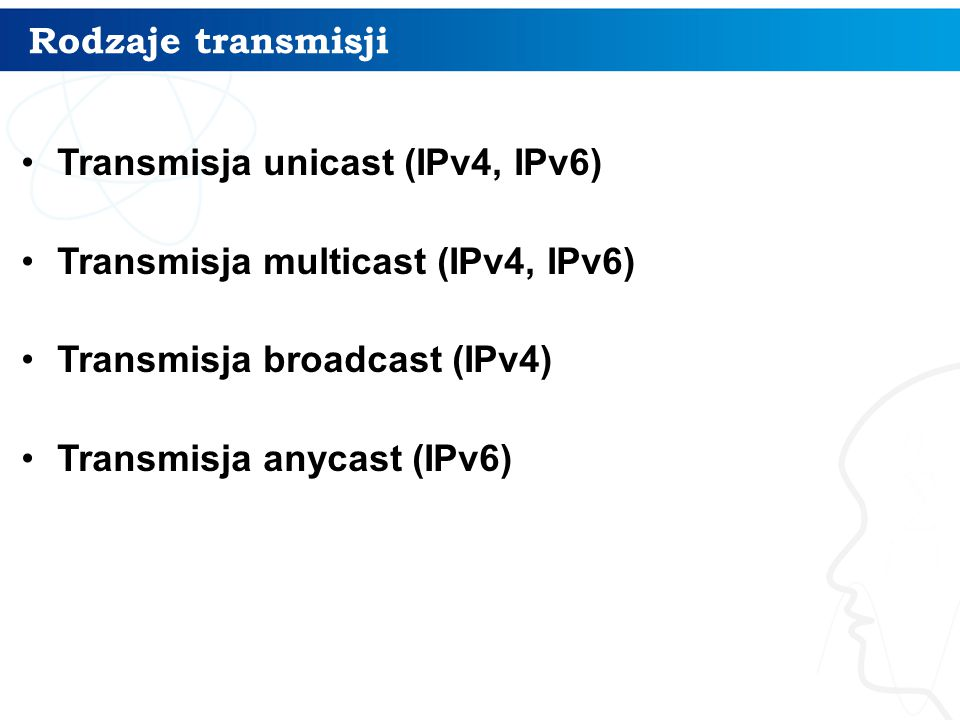 Rodzaje transmisji Transmisja unicast (IPv4, IPv6) Transmisja multicast (IPv4, IPv6) Transmisja broadcast (IPv4)