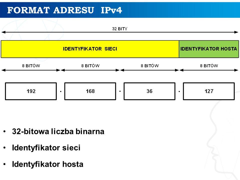FORMAT ADRESU IPv4 32-bitowa liczba binarna Identyfikator sieci