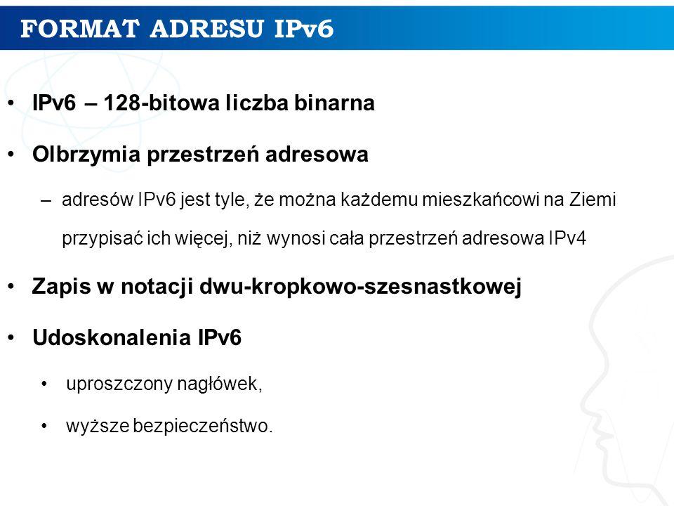 FORMAT ADRESU IPv6 IPv6 – 128-bitowa liczba binarna