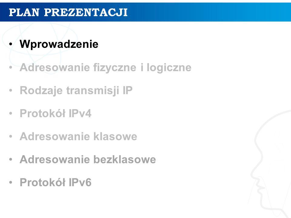 PLAN PREZENTACJI Wprowadzenie. Adresowanie fizyczne i logiczne. Rodzaje transmisji IP. Protokół IPv4.