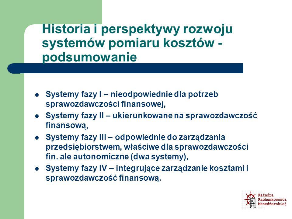 Historia i perspektywy rozwoju systemów pomiaru kosztów - podsumowanie