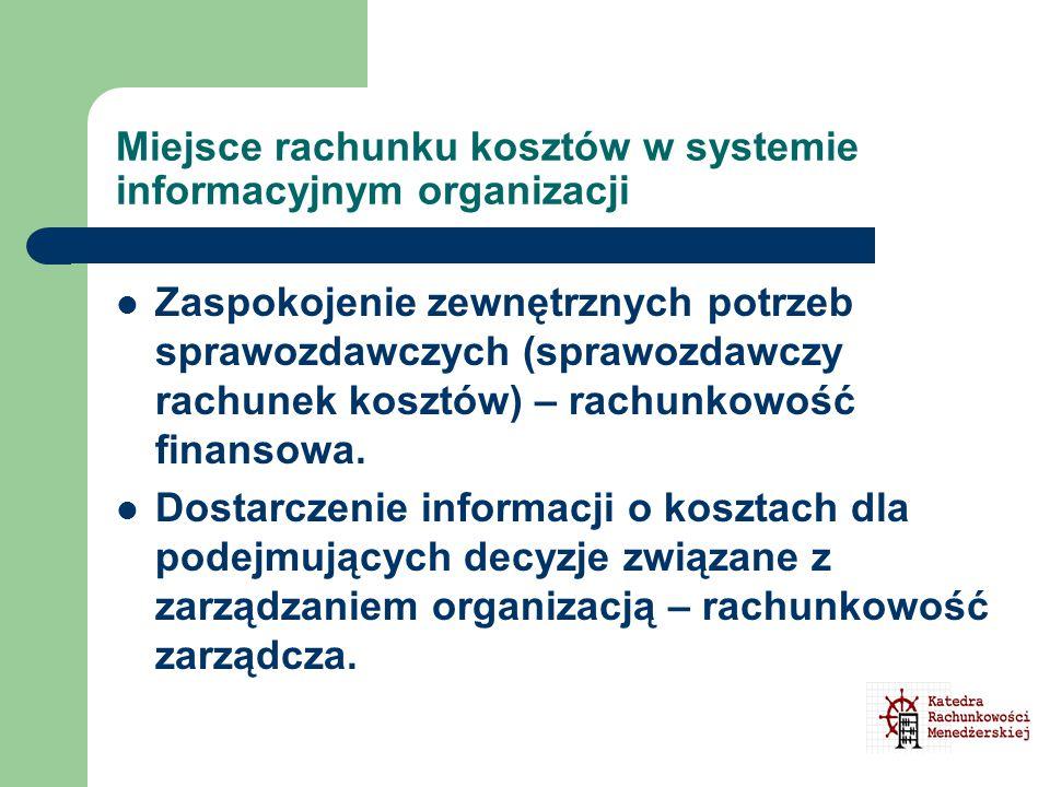 Miejsce rachunku kosztów w systemie informacyjnym organizacji