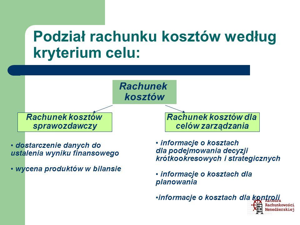 Podział rachunku kosztów według kryterium celu: