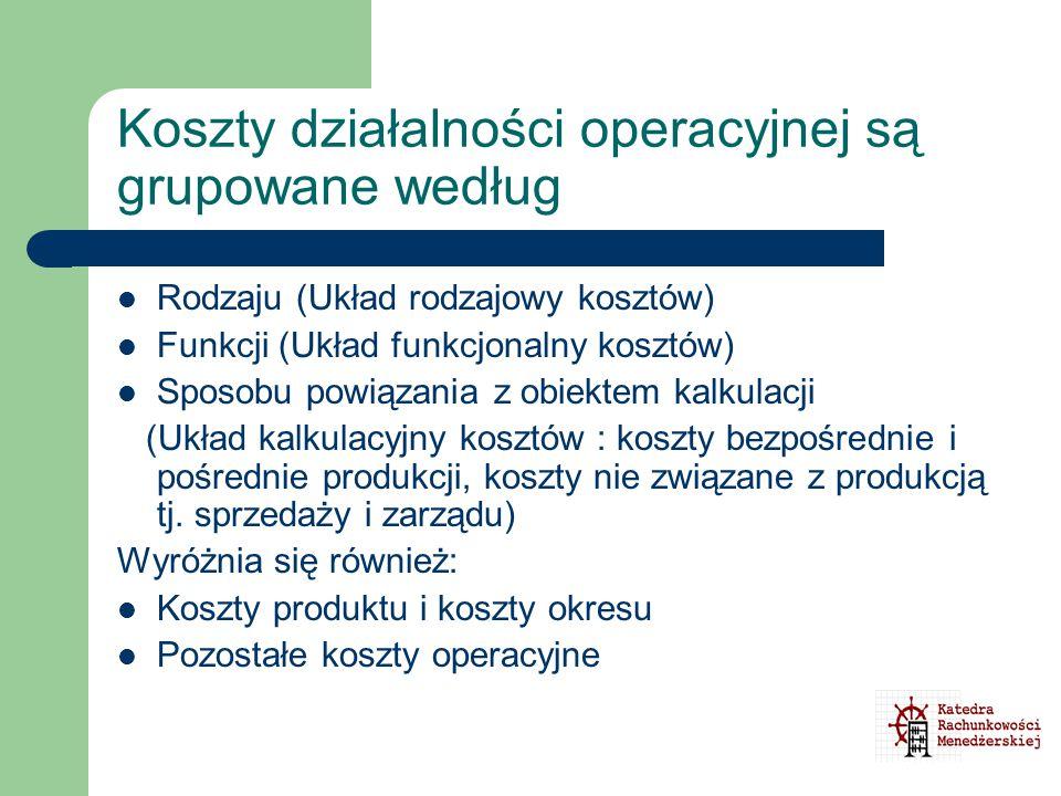 Koszty działalności operacyjnej są grupowane według