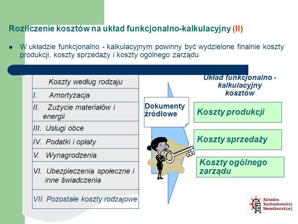 Rozliczenie kosztów na układ funkcjonalno-kalkulacyjny (II)
