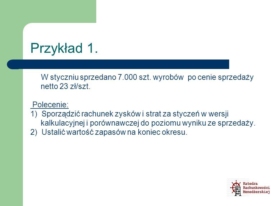 Przykład 1. W styczniu sprzedano 7.000 szt. wyrobów po cenie sprzedaży netto 23 zł/szt. Polecenie:
