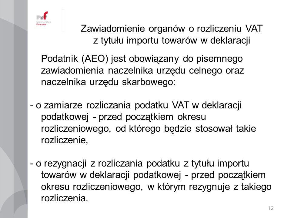 Zawiadomienie organów o rozliczeniu VAT z tytułu importu towarów w deklaracji