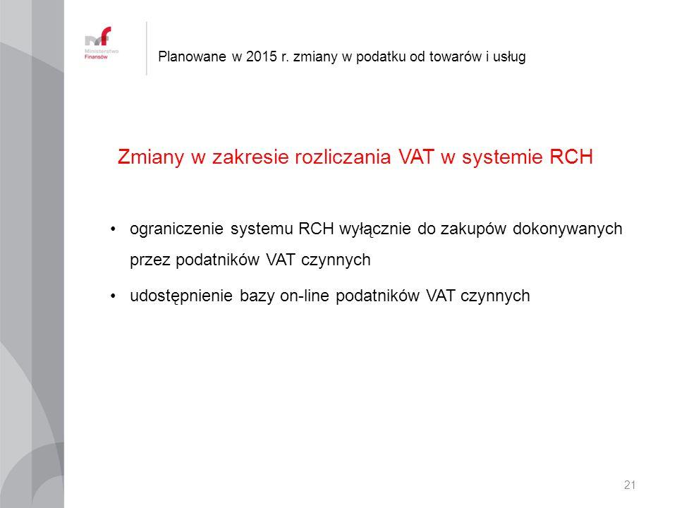 Zmiany w zakresie rozliczania VAT w systemie RCH