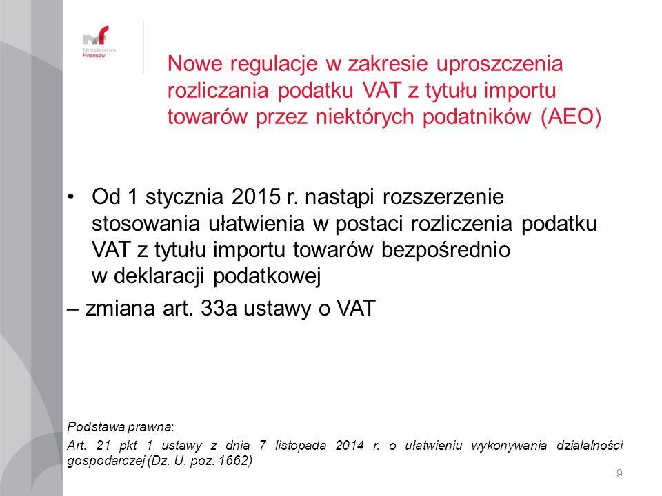 – zmiana art. 33a ustawy o VAT