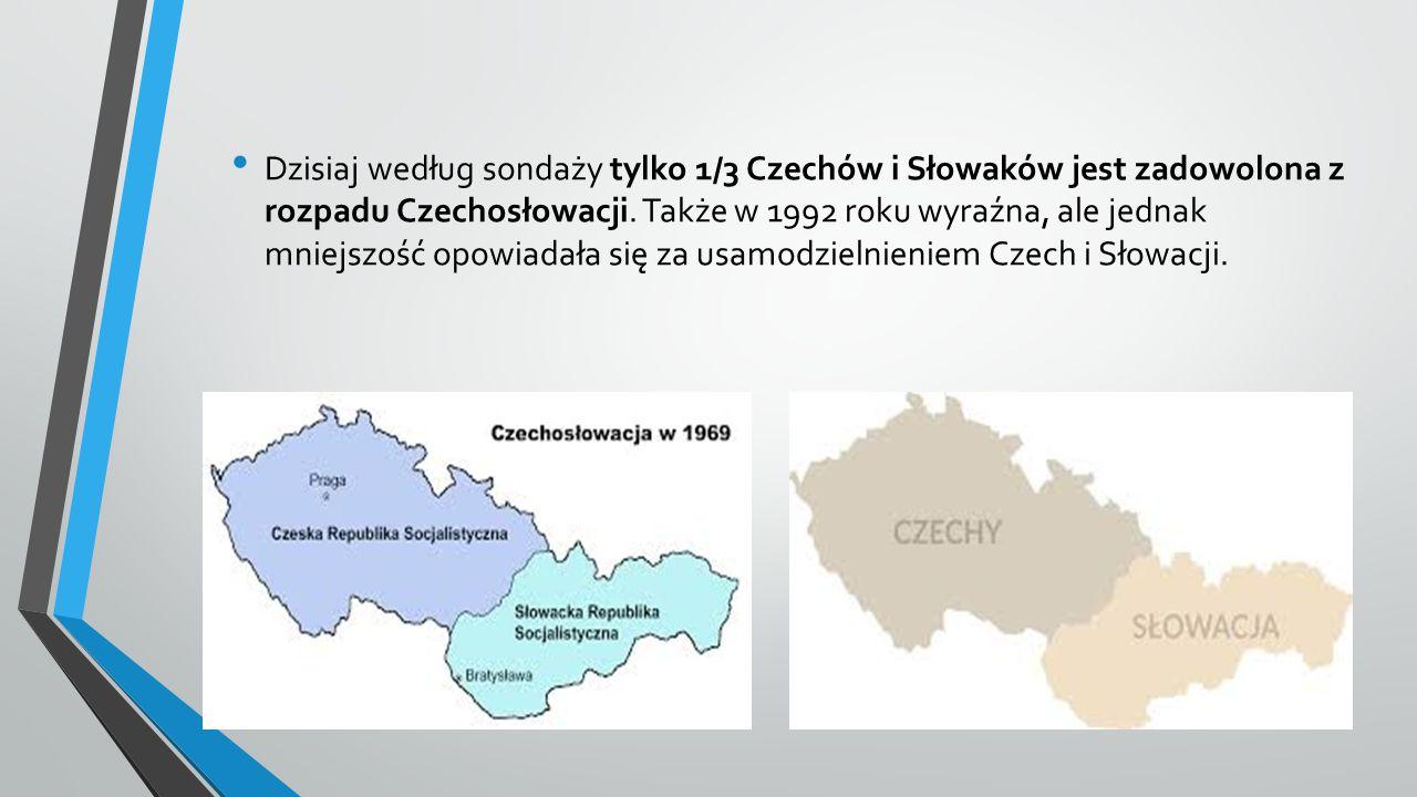 Dzisiaj według sondaży tylko 1/3 Czechów i Słowaków jest zadowolona z rozpadu Czechosłowacji.