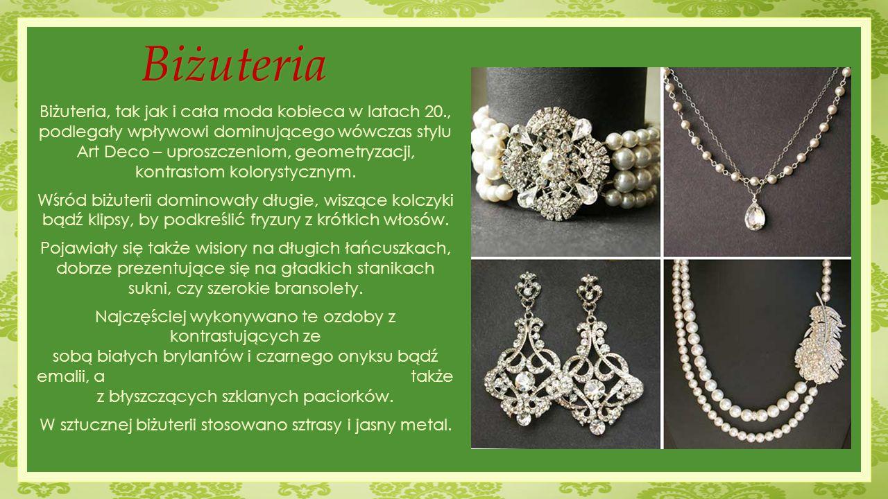 W sztucznej biżuterii stosowano sztrasy i jasny metal.