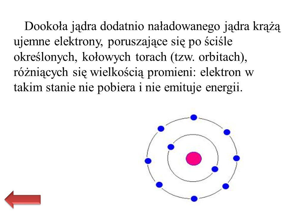 Dookoła jądra dodatnio naładowanego jądra krążą ujemne elektrony, poruszające się po ściśle określonych, kołowych torach (tzw.