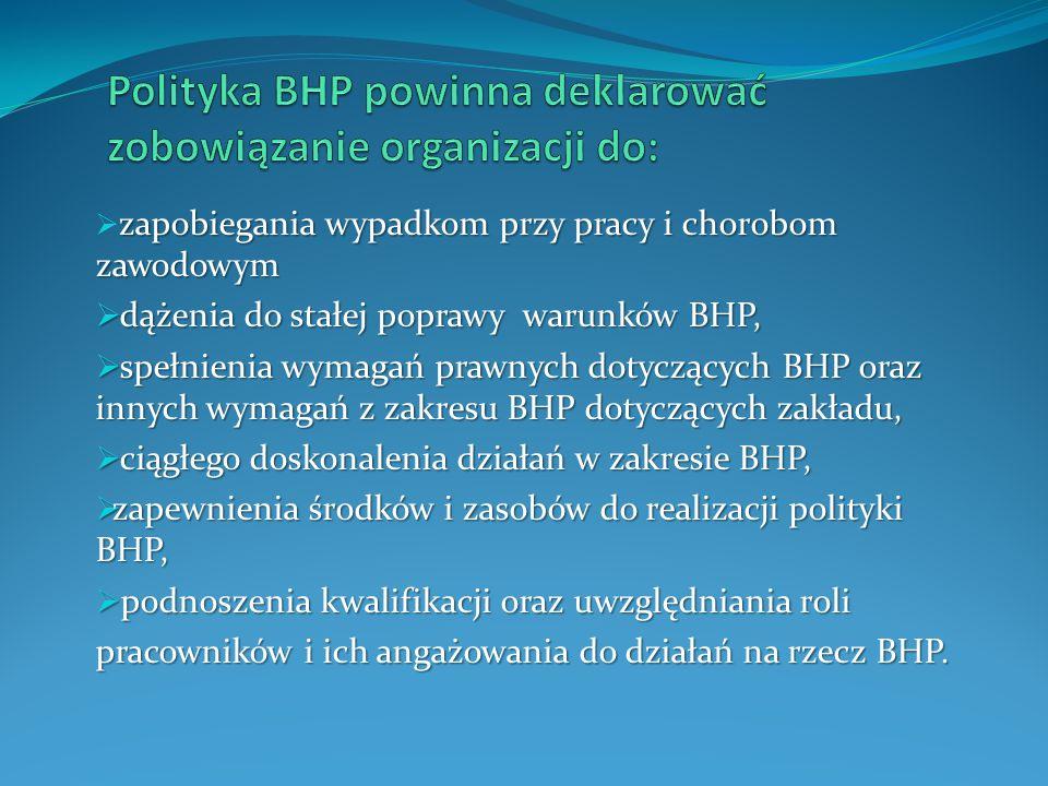 Polityka BHP powinna deklarować zobowiązanie organizacji do: